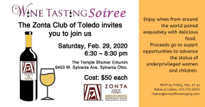 Zonta Club of Toledo 1 Wine Tasting Soiree Saturday, Feb. 29, 2020